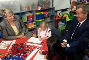 Labor leaders Tanya Plibersek and Bill Shorten visit St James Catholic Primary School, Glebe.