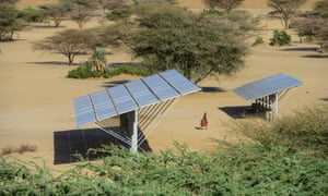A solar powered water pump in Lodwar, north-western Kenya. Africa is a key front in the Paris climate agreement's quest to limit the global temperature rise to under 2C.
