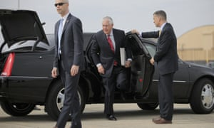 The US secretary of state, Rex Tillerson, arrives at Andrews air force base en route to Mexico on Wednesday.