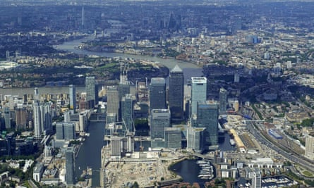An aerial view of London's Canary Wharf financial district