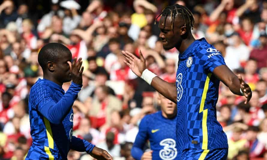 Tammy Abraham (right) celebrates with N'Golo Kanté after scoring Chelsea's winner against Arsenal in a pre-season friendly.