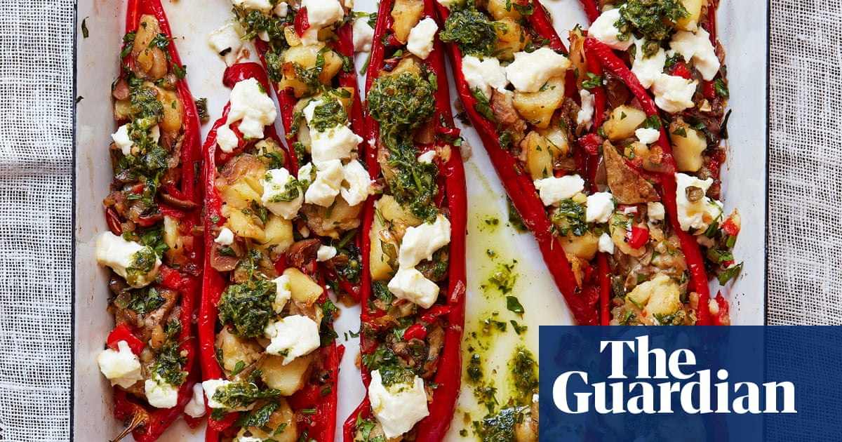 Thomasina Miers' recipe for romano peppers stuffed with herbs, olives and goat's cheese