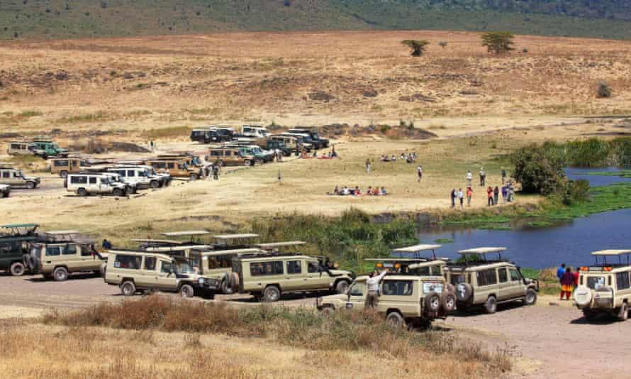 Tourists on safari in the Ngorongoro crater, Tanzania.