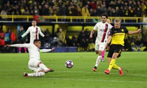 Erling Haaland fires in the second for Dortmund.