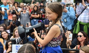 Greta Thunberg speaks at a climate protest outside the White House in Washington DC, on 13 September.