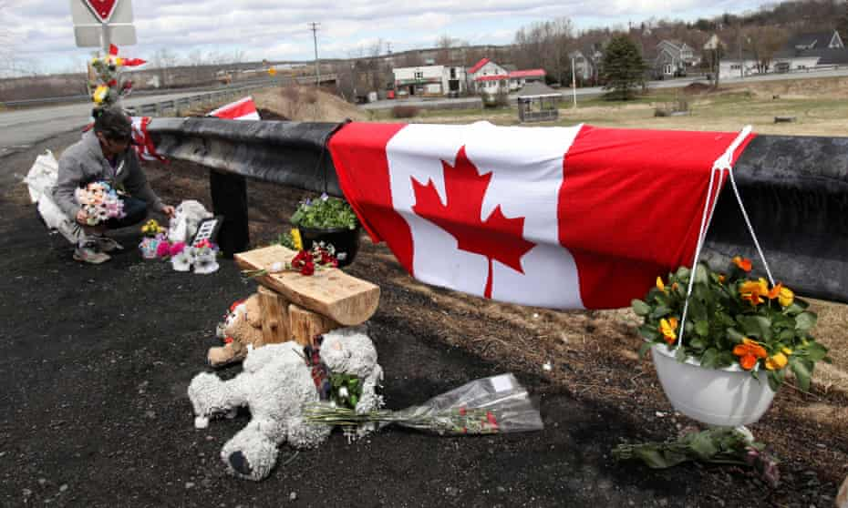 A memorial for Royal Canadian Mounted Police constable Heidi Stevenson, in Shubenacadie, Nova Scotia.