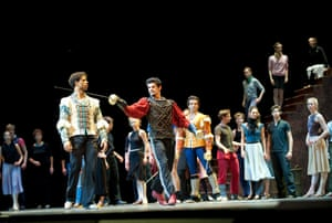Carlos Acosta as Romeo with Soares as Tybalt in rehearsal for the Royal Ballet's Romeo and Juliet at the O2 centre in 2011