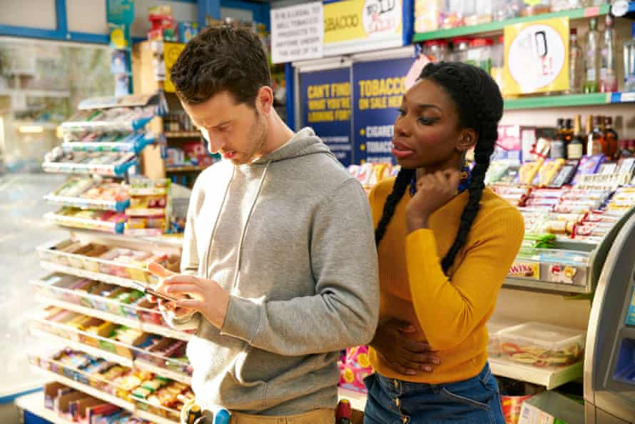Robert Lonsdale as Connor and Michaela Coel as Tracey in Chewing Gum.