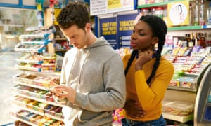 Robert Lonsdale and Michaela Coel in Chewing Gum.