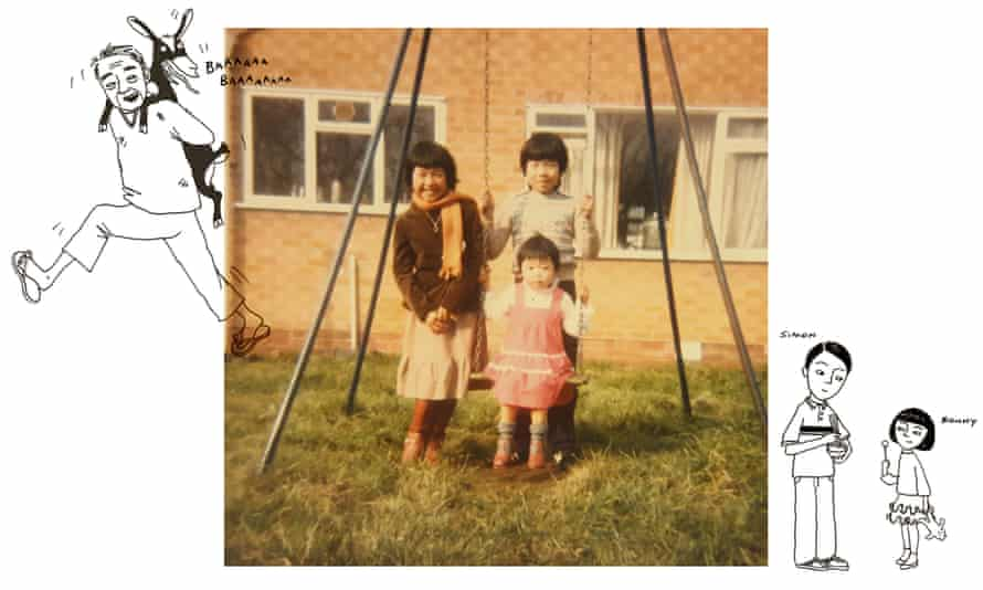 Sue Cheung with her older brother and little sister.