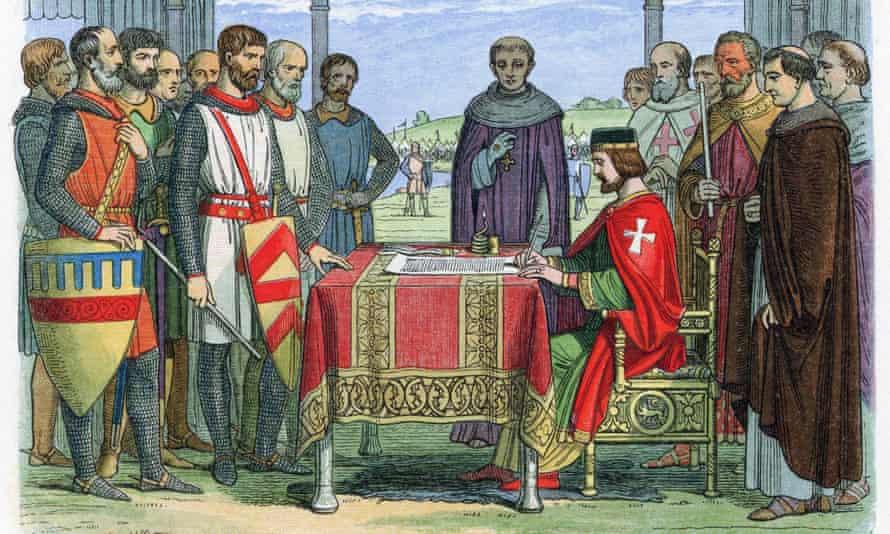King John depicted ratifying Magna Carta at Runnymede in 1215