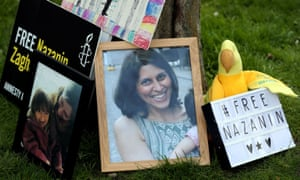 Photos and signs calling for the release of Nazanin Zaghari-Ratcliffe at a vigil in West Hampstead.