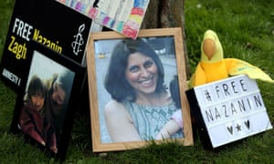 A photo of Nazanin Zaghari-Ratcliffe with messages of protest in London