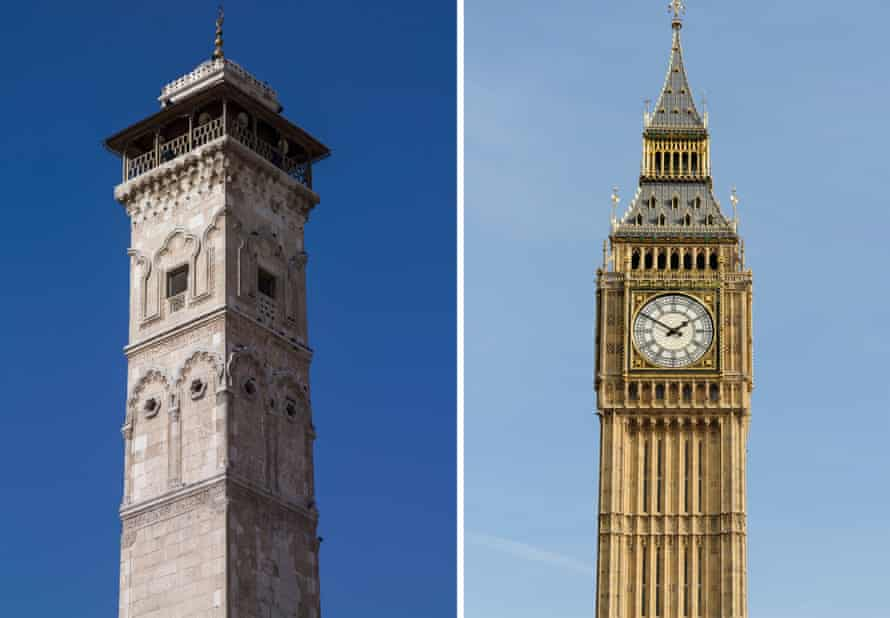 Borrowed time … from left, the now destroyed minaret of the Great Mosque in Aleppo, Syria; and Big Ben in London.