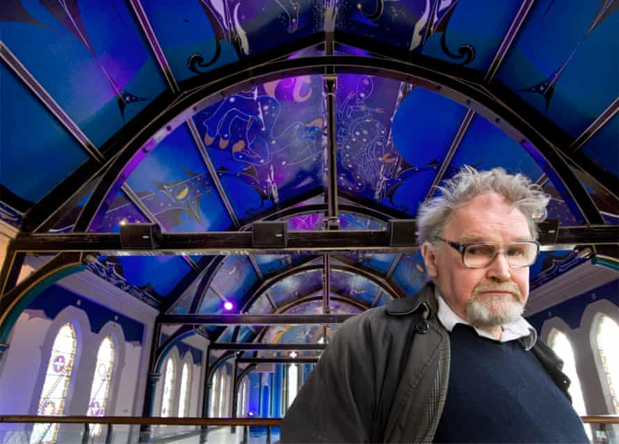 Scottish painter and novelist Alasdair Gray and the ceiling mural he painted at the Òran Mór arts venue, formerly a church.