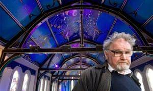 Alasdair Gray at Oran Mor, the arts and leisure centre in a converted church in Kelvinside, Glasgow, where he painted the ceiling and murals.