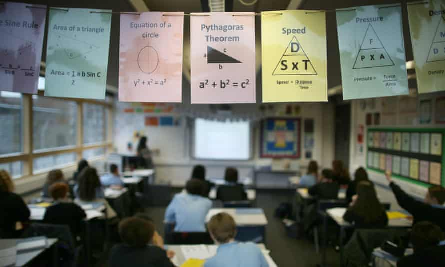 Cards displaying maths theories in a London secondary school.