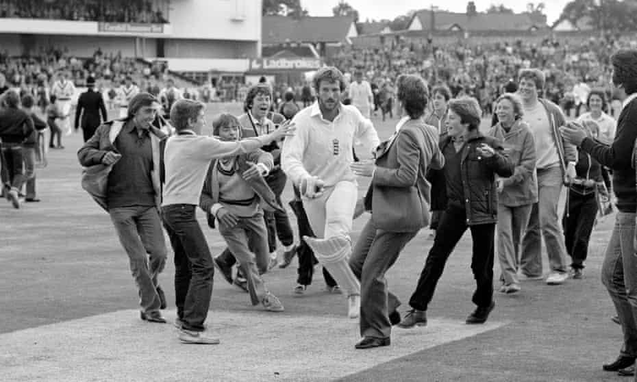 Ian Botham mobbed by spectators at the close of day four of the third Test against Australia at Headingley in 1981, during his match-turning innings of 149 not out