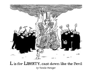 L is for Liberty, cast down like the devil