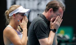 Caroline Wozniacki and her brother Patrik in tears during her retirement ceremony at the Australian Open.