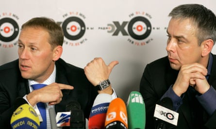 Lugovoi and Kovtun at a press conference in Moscow, in 2006.