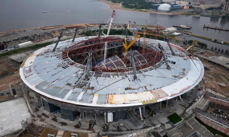 This aerial photograph, taken by a drone, shows the Zenit arena, under construction in St Petersburg, Russia.
