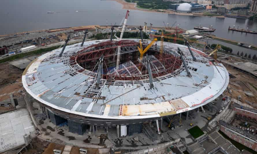 This aerial view shows the construction site of the new Zenit Arena.