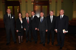 5 November 2014: As Tony Abbott entered a memorial service for former prime minister Gough Whitlam at Sydney's Town Hall he was booed loudly by the mostly partisan Labor crowd gathered outside. The service was attended by all of Australia's surviving prime ministers and, at the request of the prime minister's office, they assembled after the service for this historic photograph. There was a lot of discussion on social media platforms about the separation of political rivals Keating-Hawke, Gillard-Rudd and Fraser-Howard but the photographer described the atmosphere as 'friendly'.