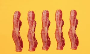 strips of fried bacon