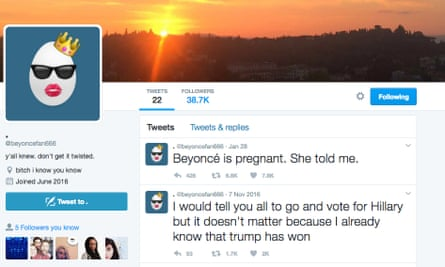 Screengrab of the account @beyoncefan666 who seemed to predict Beyoncé's baby news as well as Trump and Brexit