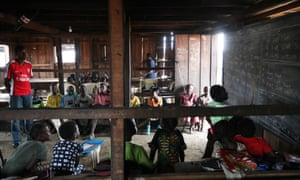 Nigerian children attend class in a primary school in Makoko, Lagos