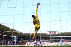 Chelsea's Thibaut Courtois tips the ball over the bar as Southampton loose 3-2 to Chelsea at St Mary's.