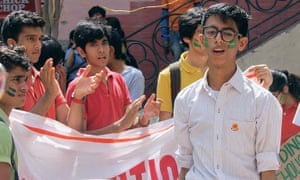 15-year-old Veer Ojas Khanna, right, wants the Indian government to start talking about the climate.