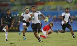 Vatemo Ravouvou breaks through to score one of Fiji's seven tries.