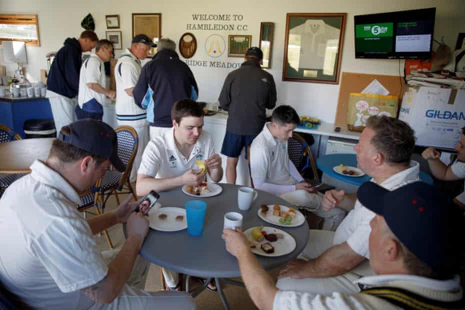 Players take tea at Hambledon Cricket Club.