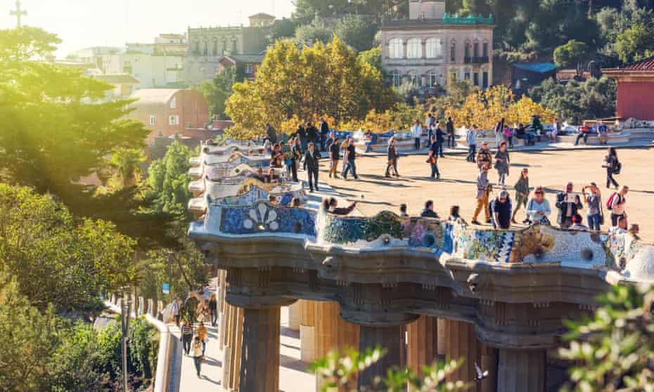 Visitors at Antoni Gaudí's Park Güell, Barcelona, Spain