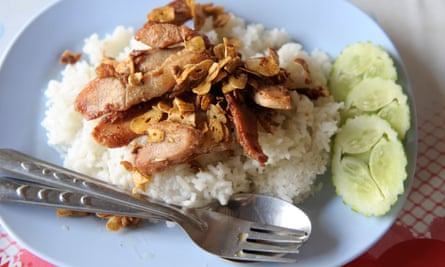 pork with garlic top on rice,  bangkok