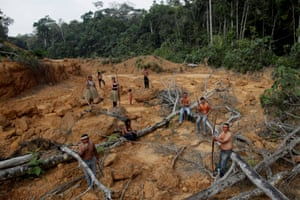 Indigenous people from the Mura tribe in a deforested area inside the Amazon rainforest near Humaita