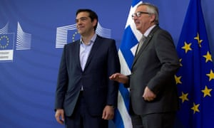 European Commission President Jean-Claude Juncker, right, speaks with Greek Prime Minister Alexis Tsipras as they arrive for a meeting at EU headquarters in Brussels on Wednesday, June 3, 2015. Greece's prime minister meets European Commission President Jean-Claude Juncker in Brussels on Wednesday, June 3, 2015 to discuss his radical left-led government's proposal to secure a vital, long-overdue agreement with the country's bailout lenders. (AP Photo/Virginia Mayo)