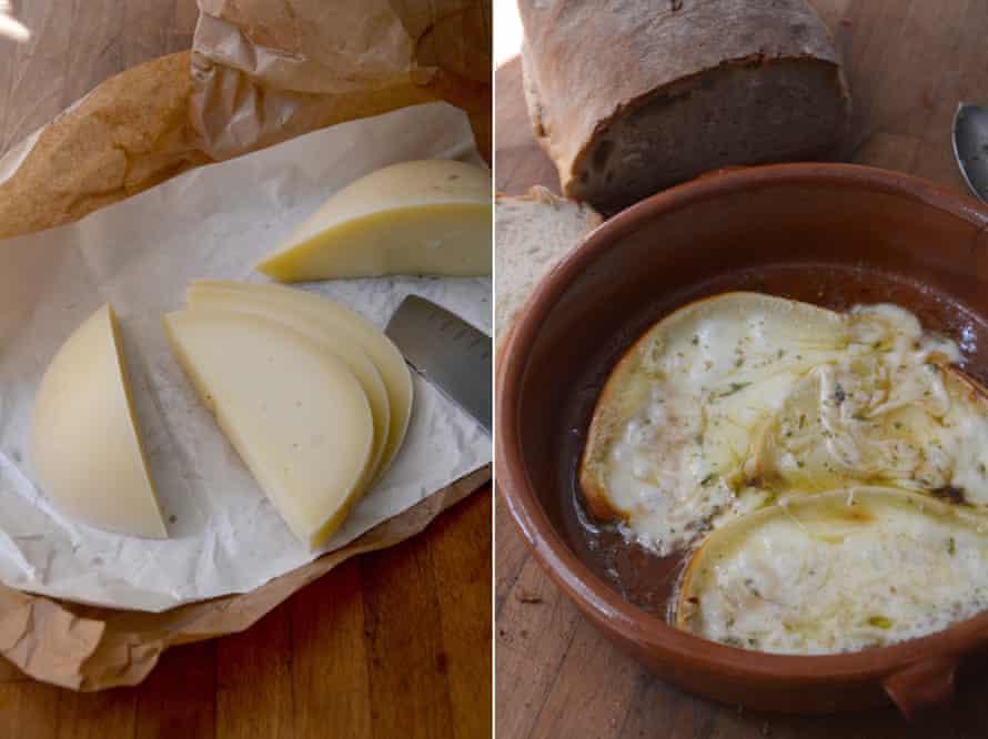 Rachel Roddy's fried caciocavallo cheese with honey, oregano and vinegar.