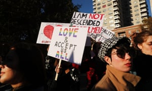 Protesters opposed to Donald Trump stage a 'Love trumps hate' rally in New York