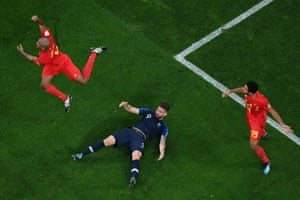 France's forward Olivier Giroud reacts after missing a chance to score against Belgium.