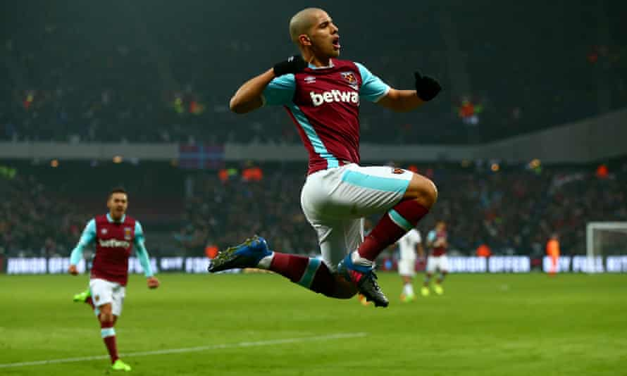 Sofiane Feghouli celebrates after equalising for West Ham, having seen an earlier strike disallowed.