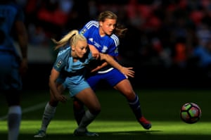 Sarah Mayling of Birmingham City has her hands full dealing with Manchester City's Toni Duggan.