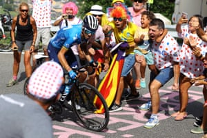 Stage 15: Supporters cheer on Alejandro Valverde of Spain and the Movistar Team in Andorra