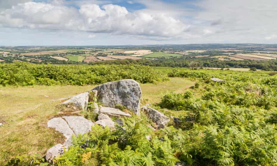 Godolphin Hill with views over west Cornwall.
