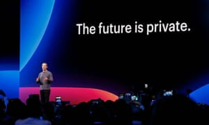 Mark Zuckerberg delivers the opening keynote introducing new Facebook, Messenger, WhatsApp, and Instagram privacy features at the Facebook F8 Conference in April.
