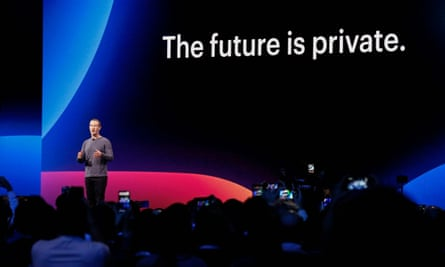 Mark Zuckerberg talking about privacy at a Facebook conference in 2019.