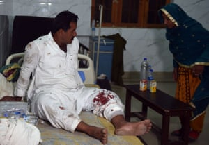 An injured man awaits further treatment at the local hospital.