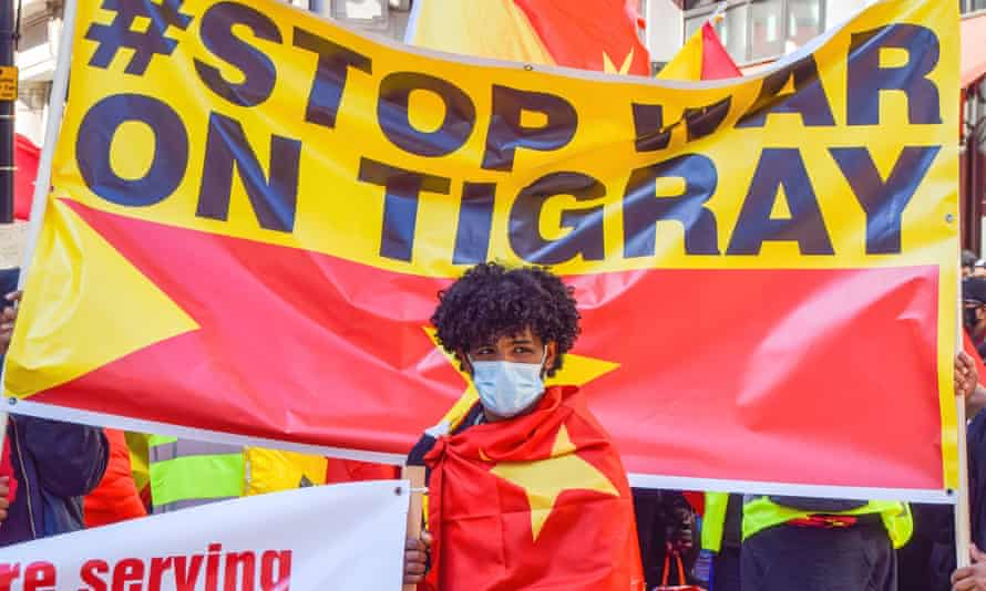 A protest in London last month against the war on Tigray.